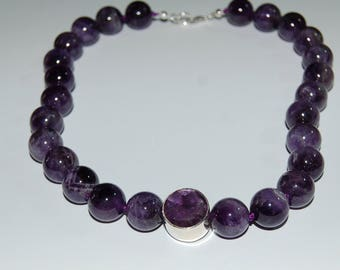 Gemstone necklace - Amethyst necklace, balls, knotted, approx. 45 cm long