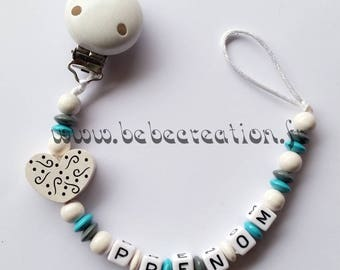 Pacifier clip personalized I love white