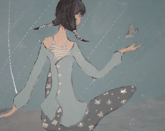 Tableaudecoratif in acrylic paint: girl in front of the sea!