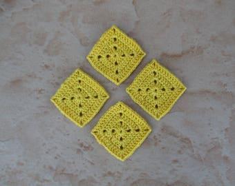 set of 4 square / corn yellow grannys crochet