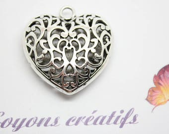 Large pendant silver heart 35mm - SC05277 jewelry Creation.