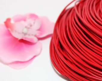 Red 2mm - creating jewelry leather cord 1 m