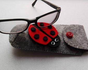 Grey Melange felt eyewear case gray-colored melange eyeglass case in felt