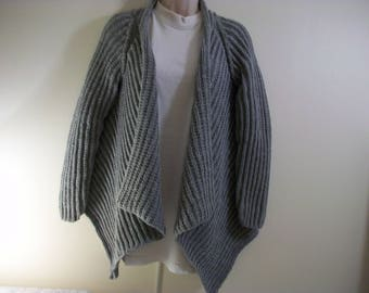 Cardigan jacket long gray deconstructed light knitted with acrylic yarn