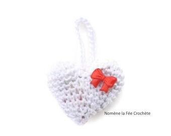White heart crochet deco Keyring, handmade
