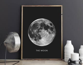Moon print, Planet printable art, Planet poster, Modern art, Minimalist, Universe wall decor, Home decor, Space art, Best selling prints