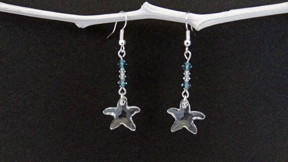 Boucles d'oreilles etoile de mer swarovski