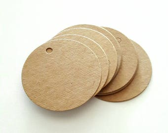 15 labels round kraft diameter 5 cm for embellishment and creation