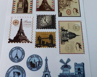 large sheet of 12 stickers Paris and London Big Ben Tower vintage style stamp and card postcard