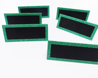 6 place cards slate green glitter