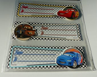 6 large gift tags stickers Cars all different cars in relief