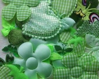 30 Green embellishments scrapbooking cardmaking satin velvet fabric