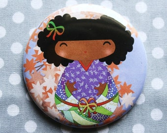 Kokeshi 'Purple' floral and Asian spirit magnet