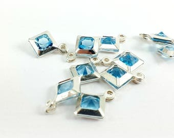 Set of 2 square silver Sterling and Crystal beads, Blue Topaz