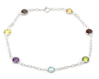 14k White Gold Gemstone Bracelet With Corrugated Link Chain 7 - 8.5 Inches