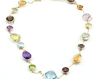 14K Yellow Gold Handmade Station Necklace With Large Gemstones By The Yard 36 Inches