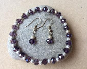Purple crystal and tibetan silver bead earrings and bracelet set Handmade