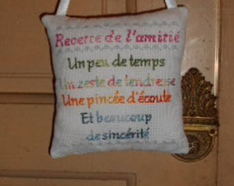 Pillow embroidered handbag - recipe for friendship