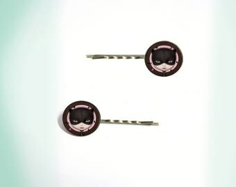 2 hair clips - vintage - cabochon - strange lady