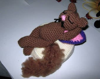 Cat, Brown, Amigurumi, crochet, wool pillow
