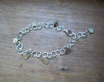 Handcrafted heart charm bracelet