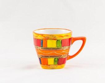 Orange hand painted 20 cl porcelain coffee mug