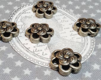 ☆ x 5 connectors / 14 mm bronze metal connectors, flower pattern ☆