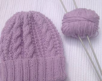soft hand knitted cotton cable baby hat, ideal gift, double rib for extra stretch and snug fit.