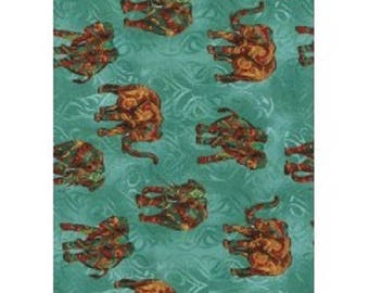 patchwork elephants 12010801 water green background fabric