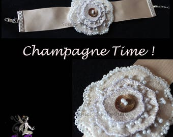 "Wedding Pearl champagne color ""Champagne Time"" bracelet"