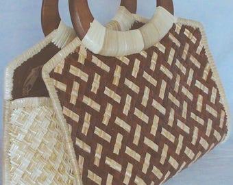 "Handmade ""Pandan"" Two tone Hand Bag - Ladies Purse - Ladies Bag - Summer Bag -  Purse - Wood Handle Purse - Hand Bag - Native Bag"
