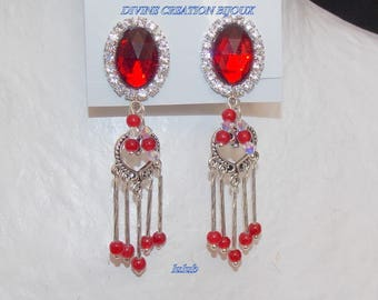 Red clip earrings and her pendants