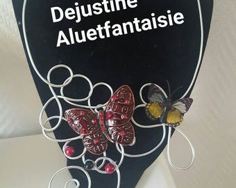 Butterfly red brown silver Bead Necklace