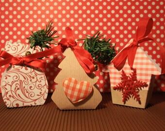 Box folding Christmas pattern, set of 6