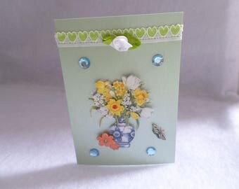 Green card, flowers and Ribbon Garland