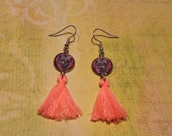 SKULL and ►Rose◄ tassel earrings