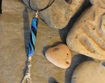 Blue Lagoon stick necklace polymer clay