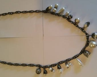 Lovely Sautoire black chain and charm and Pearl White Pearl