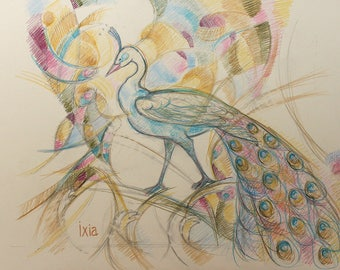 Peacock - drawing on colored paper