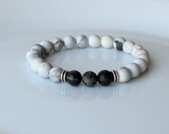 Men Beaded Bracelets, Mens Bracelet, Men's Energy Bracelet, Bracelet Men, White Jade Bracelet For Men, Moonstone Bracelet, Men Bracelet Gift