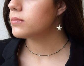 Silver Star Earrings,Star Drop Earrings, Star Earrings, Sterling Silver Earrings,Dangle and Drop Earrings,Modern Star Earrings,Long Earrings