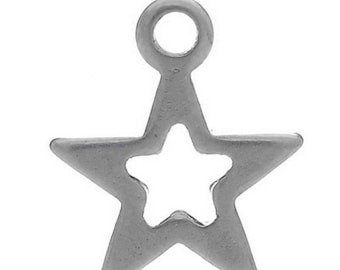 Star 1 charm made of steel stainless 10x9mm