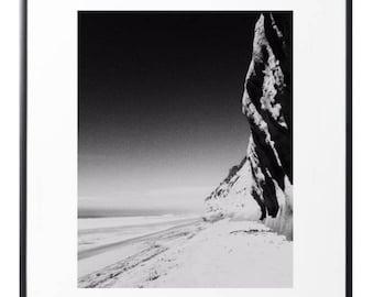 Minimalist print photo - minimalist art - beach black and white - Encinitas wall prints - black and white - ocean - beach - home decor