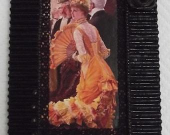 "Cardboard frame wavy, black patina, image of James Tissot painting ""dance"""