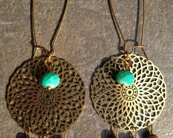 Bronze earrings print, multi green beads