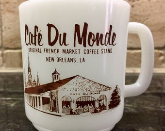Vintage Glasbake Cafe Du Monde Milk Glass Coffee Cup Mug The Original French Market Coffee Stand Since 1862 New Orleans Louisiana