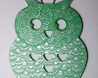 OWL wall decor handpainted green and silver
