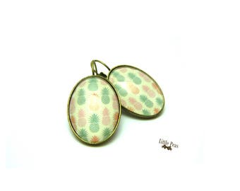 Pineapple vintage glass dome earrings