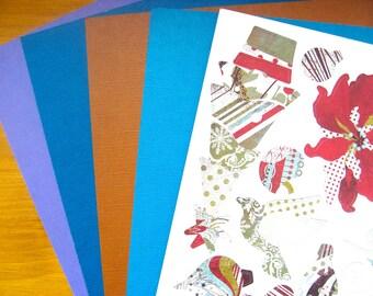 1 Board of chip board Christmas theme sticker + 4 plain leaves n ° 4 30x30cm