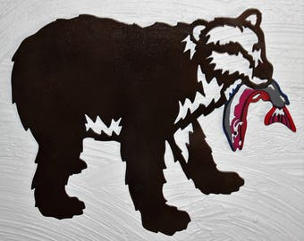 Bear Fish - Metal Art - Wall Hanging